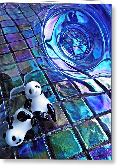 Distortion Greeting Cards - Little Glass Pandas 13 Greeting Card by Sarah Loft