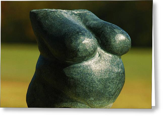 Carved Sculptures Greeting Cards - Little Granite Torso  Greeting Card by Tommy  Urbans