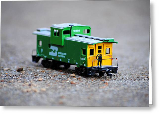 Old Caboose Greeting Cards - Little Green Caboose Greeting Card by Jai Johnson