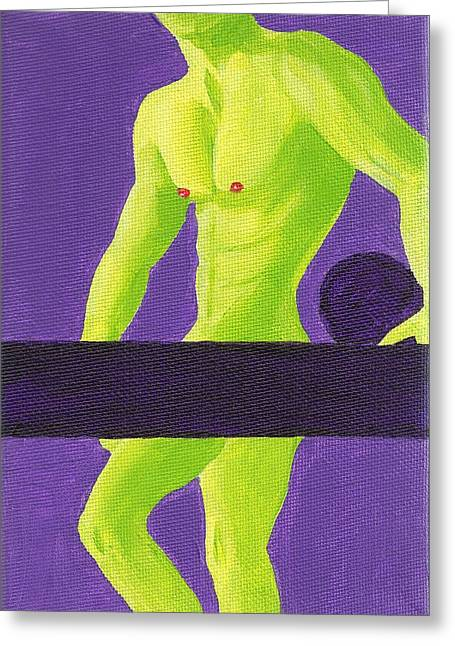 Male Torso Greeting Cards - Little Green Man on Purple Greeting Card by Randall Weidner