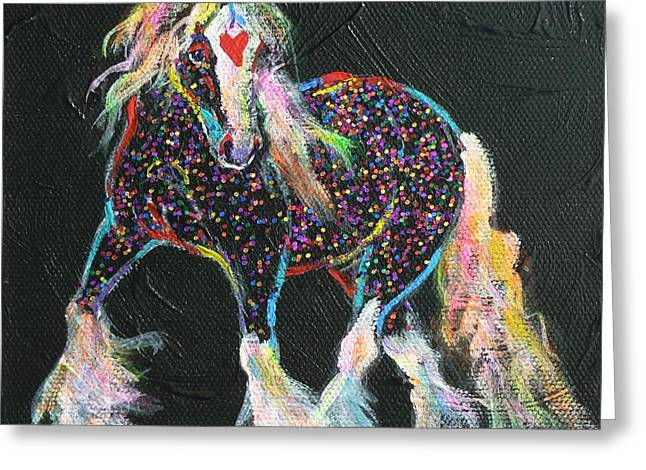 Gypsy Mixed Media Greeting Cards - Little Gypsy Treasures Pony Greeting Card by Louise Green