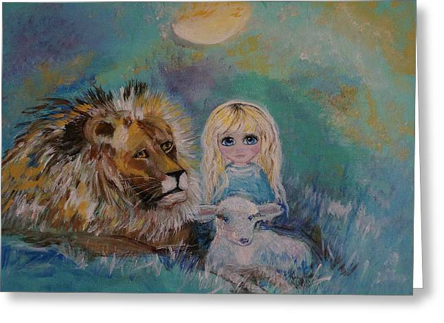 Lion And Lamb Greeting Cards - Little Harmonie Greeting Card by Leslie Allen