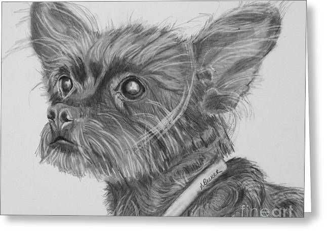Dog Prints Drawings Greeting Cards - Little Heartbeat at My Feet Greeting Card by Susan A Becker