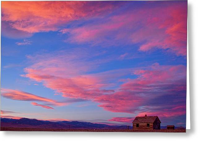 Prairie Sunset Landscape Art Print Greeting Cards - Little House On Prairie with Big Colorful Colorado Sunset Sky Greeting Card by James BO  Insogna