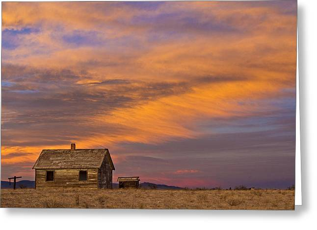 Prairie Sunset Landscape Art Print Greeting Cards - Little House On The Colorado Prairie 2 Greeting Card by James BO  Insogna