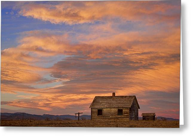 Prairie Sunset Landscape Art Print Greeting Cards - Little House On The Colorado Prairie Greeting Card by James BO  Insogna