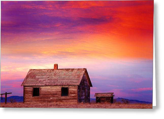 Prairie Sunset Landscape Art Print Greeting Cards - Little House On The Prairie Colorful Colorado Country Sunset Greeting Card by James BO  Insogna