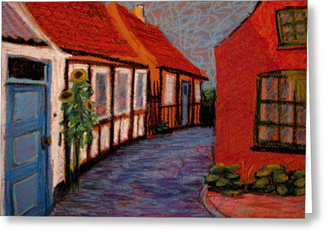 Medieval Pastels Greeting Cards - Little Houses on Bornholm Island Greeting Card by Art Nomad Sandra  Hansen