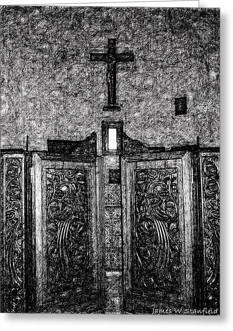 Crete Greeting Cards - Little Jewel in hard ink drawing style Greeting Card by James Stanfield