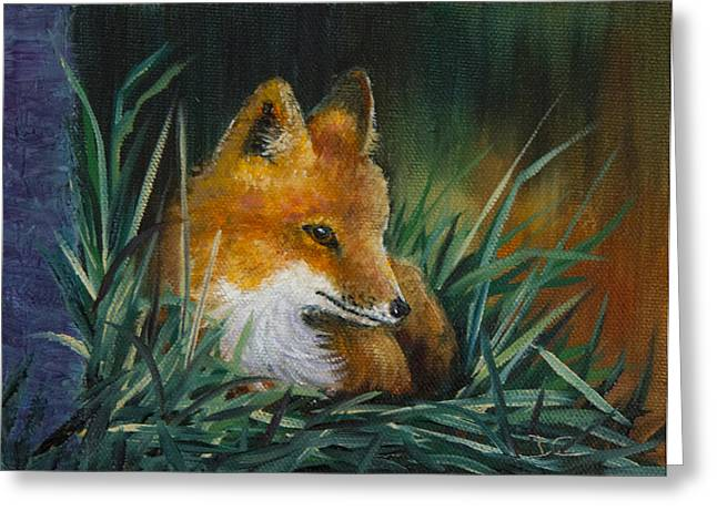 Fox Kit Paintings Greeting Cards - Little Kit Greeting Card by Dee Carpenter