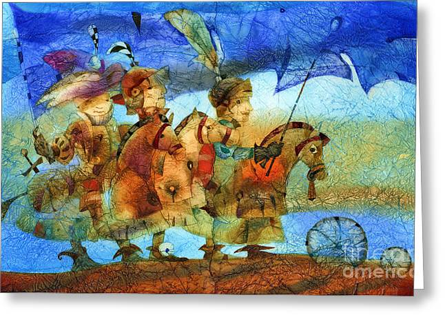 Knighting Mixed Media Greeting Cards - Little knights Greeting Card by Svetlana and Sabir Gadghievs