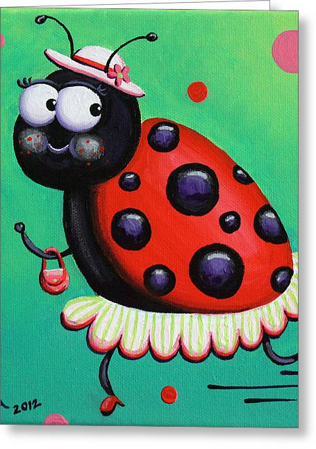Red Purse Greeting Cards - Little Lady Greeting Card by Jennifer Alvarez
