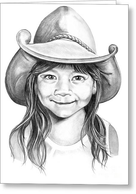 Cowboy Pencil Drawing Greeting Cards - Little Maya Greeting Card by Murphy Elliott