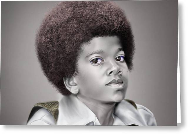 Young Michael Jackson Greeting Cards - Little Michael Greeting Card by Reggie Duffie