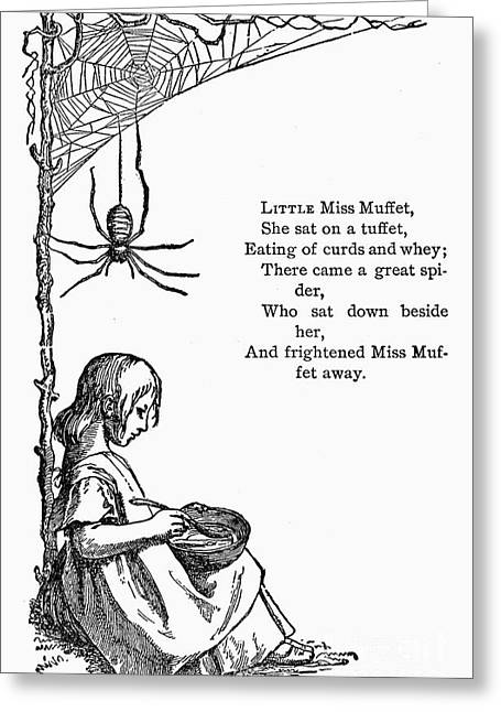 Muffet Greeting Cards - Little Miss Muffet Greeting Card by Granger