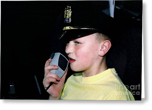 Police Talking Greeting Cards - Little Officer 4 Greeting Card by Susan Stevenson