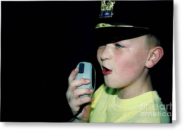 Police Talking Greeting Cards - Little Officer 6 Greeting Card by Susan Stevenson