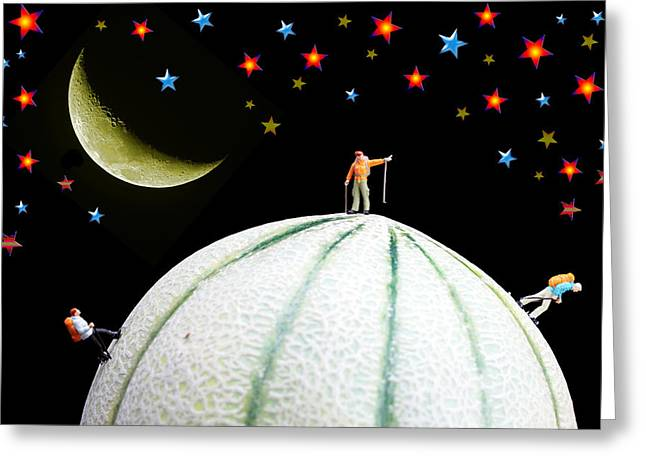 Melon Greeting Cards - Little People Hiking on Fruits under Starry Night Greeting Card by Paul Ge