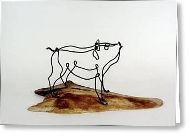 Farm Sculptures Greeting Cards - Little Pig Greeting Card by Bud Bullivant