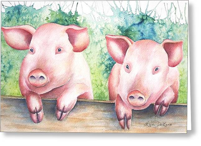 Little Piggies Greeting Card by Lyn DeLano