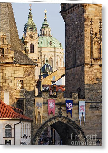 Czech Flag Greeting Cards - Little Quarter Towers and St Josephs Church Greeting Card by Jeremy Woodhouse