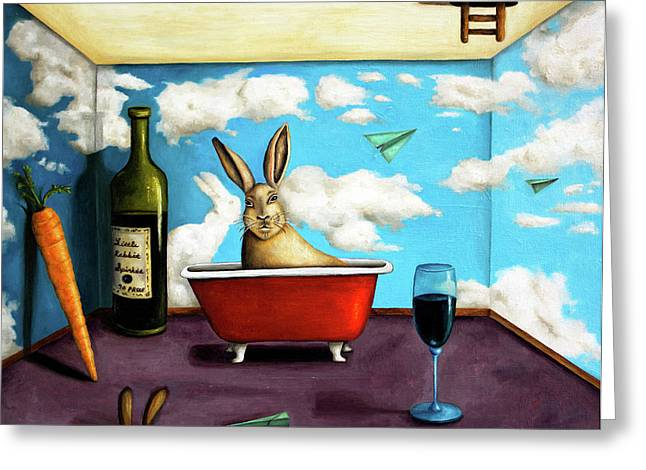 Magritte Greeting Cards - Little Rabbit Spirits Greeting Card by Leah Saulnier The Painting Maniac