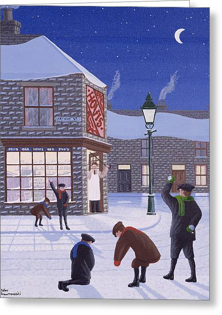 Snowball Greeting Cards - Little Rascals Greeting Card by Peter Szumowski