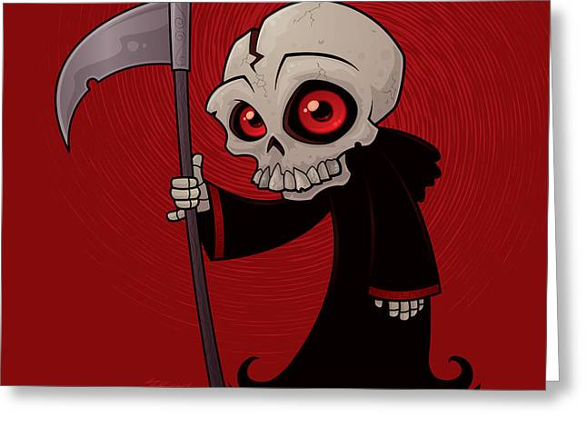 Skeleton Greeting Cards - Little Reaper Greeting Card by John Schwegel