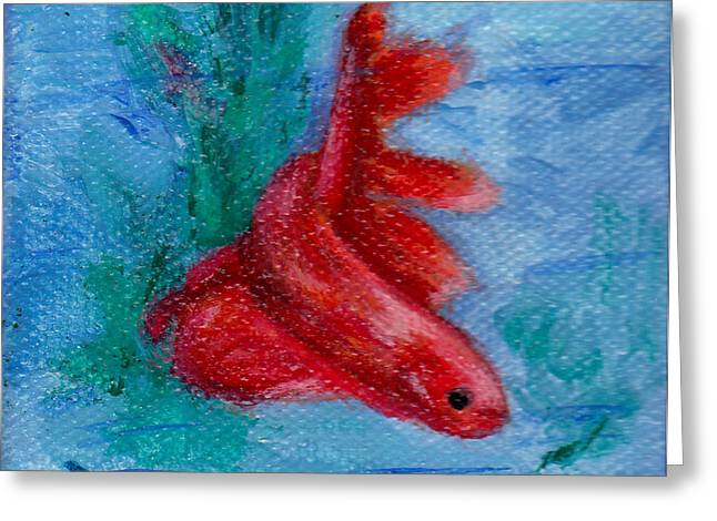 Betta Paintings Greeting Cards - Little Red Betta Fish Greeting Card by Brenda Thour