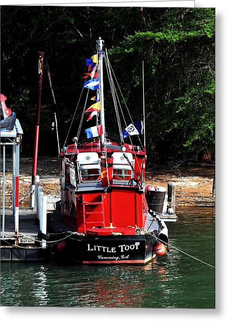 Boats At Dock Greeting Cards - Little Red Boat Greeting Card by Marc Mesa