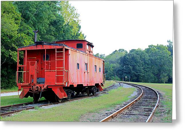 Caboose Greeting Cards - Little Red Caboose enhanced Greeting Card by Suzanne Gaff
