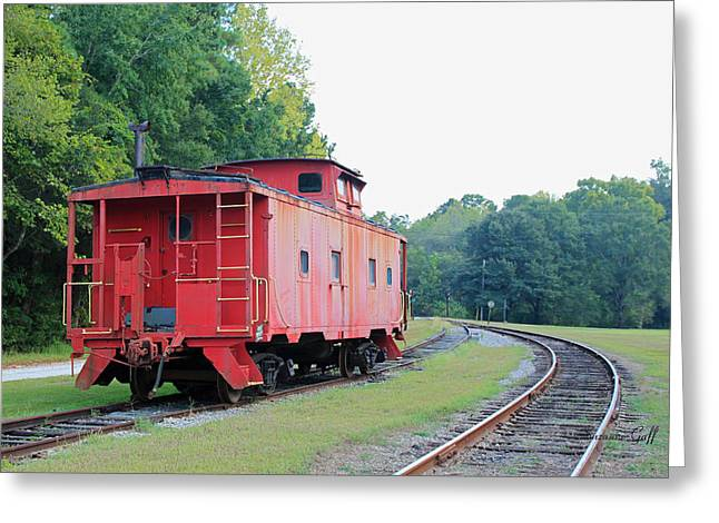 Old Caboose Greeting Cards - Little Red Caboose Greeting Card by Suzanne Gaff