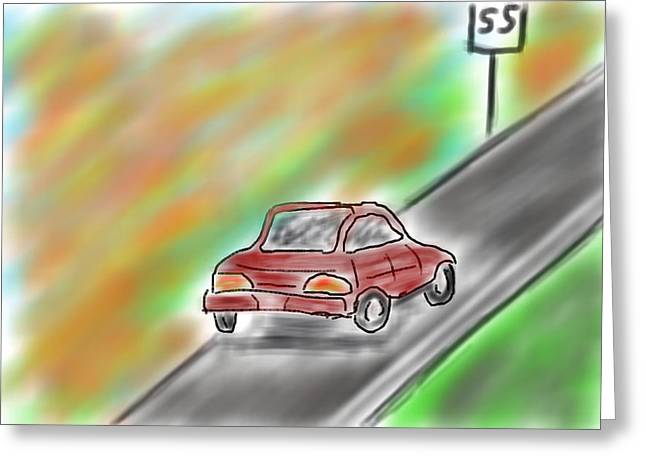 Child Care Digital Greeting Cards - Little Red Car Greeting Card by Mark Moore