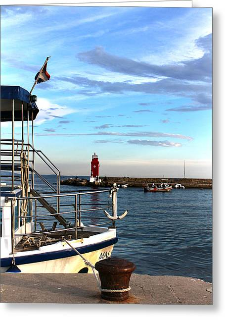 Little Red Lighthouse Greeting Card by Jasna Buncic