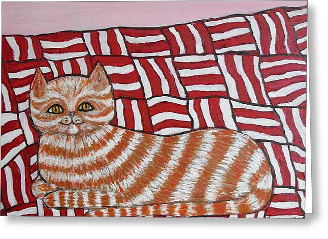 Kitty Kat Greeting Cards - Little Red Greeting Card by Penny Ames