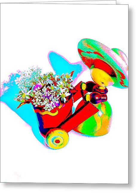 Senorita Greeting Cards - Little Red Senorita Greeting Card by EM Michael