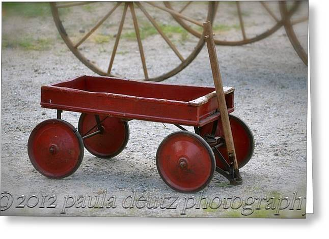 Brimfield Greeting Cards - Little Red Wagon Greeting Card by Paula Deutz
