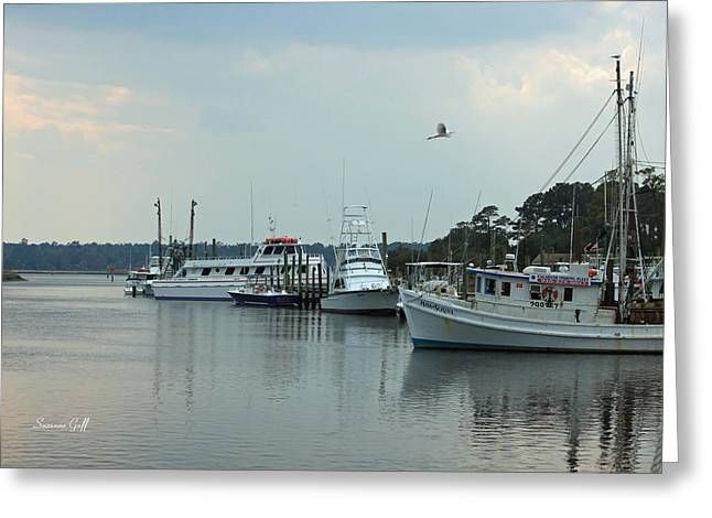 Fishing Boats Greeting Cards - Little River Scenic Greeting Card by Suzanne Gaff