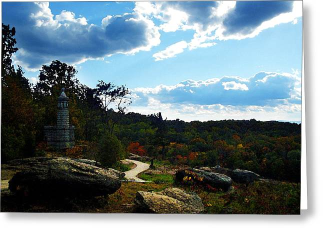 Bayonet Greeting Cards - Little Round Top one of two Greeting Card by Lisa A Bello