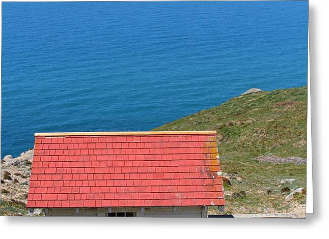 Little Shack At The Point Reyes Lighthouse in California . 7D16020 Greeting Card by Wingsdomain Art and Photography