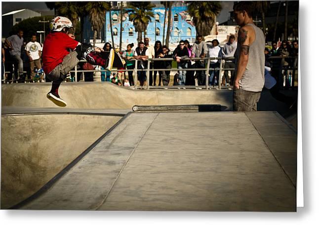 Boy On Skateboard Greeting Cards - Little Skater Greeting Card by Steven Baker