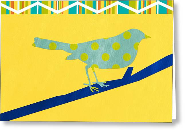 Yellow Greeting Cards - Little Song Bird Greeting Card by Linda Woods