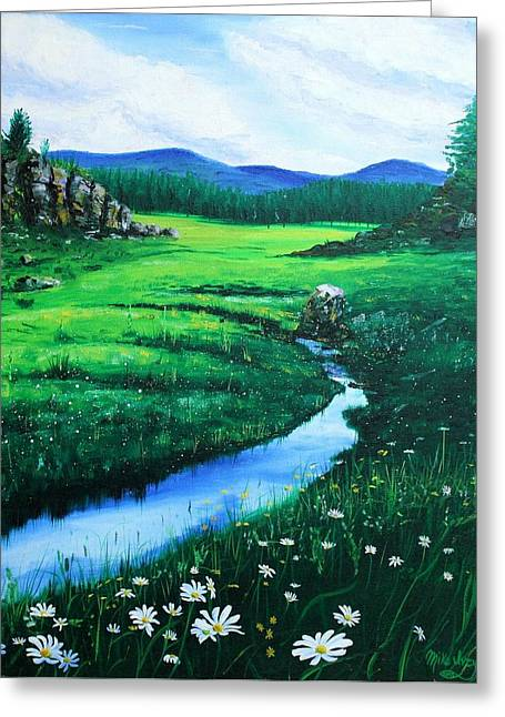 Pallet Knife Greeting Cards - Little Stream Greeting Card by Mike Ivey