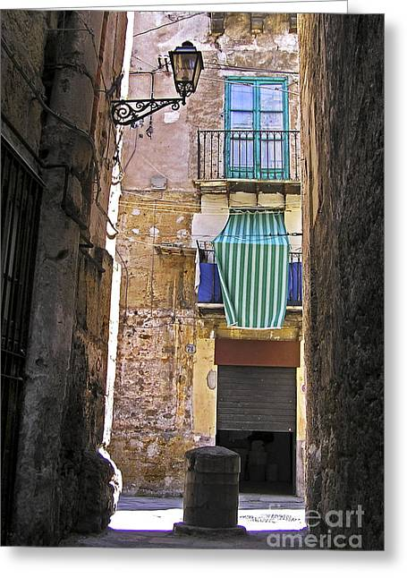 Little Pyrography Greeting Cards - Little street in the old citycenter - PALERMO - SICILY Greeting Card by Silva Wischeropp