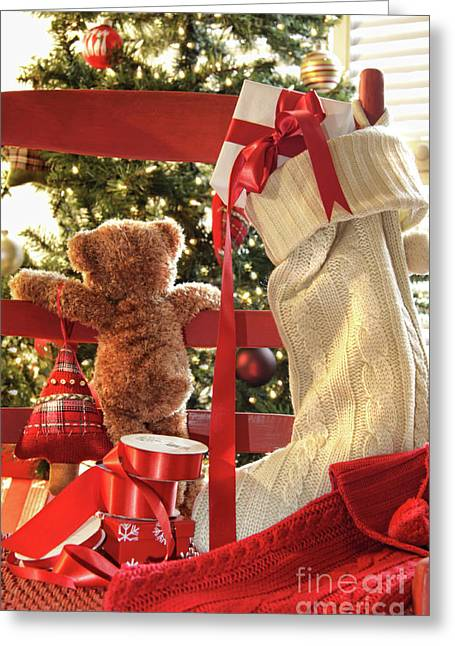 Sweetness Greeting Cards - Little teddy bear looking through chair Greeting Card by Sandra Cunningham