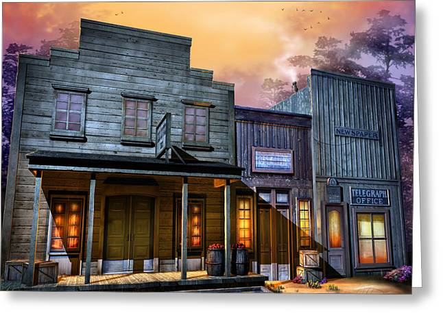 Ghost Town Greeting Cards - Little Town Greeting Card by Joel Payne