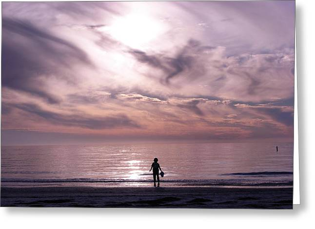 Little Waves Big World Greeting Card by Amanda Vouglas