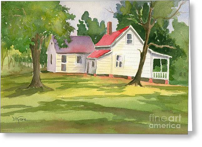 Little White Farmhouse Greeting Card by Diana  Tyson