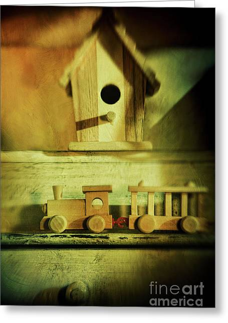 Interior Still Life Photographs Greeting Cards - Little wooden train on shelf Greeting Card by Sandra Cunningham