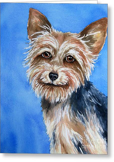 Yorkshire Terrier Watercolor Greeting Cards - Little Yorkie Greeting Card by Cherilynn Wood